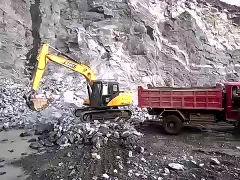 SANY 14 ton excavator working in the quarry thumbnail image