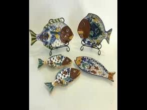 hand painted cust fish shape ceramic dish plate thumbnail image