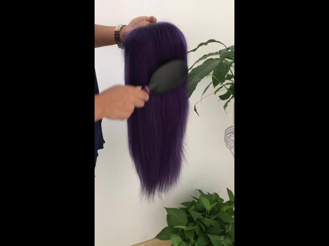 Purple Straight Human Hair Full Lace Front Wig thumbnail image