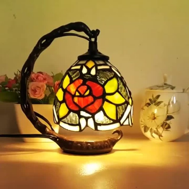 Stained Glass Handmade Retro Bedside Tiffany Lamp