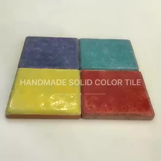 hand painted solid ceramic tile thumbnail image