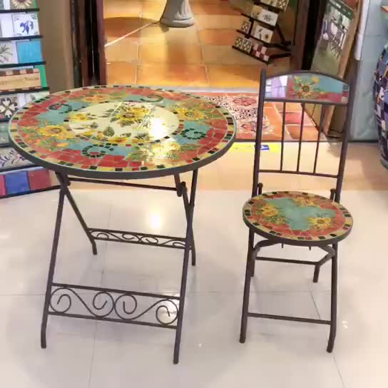 Round Mosaic Outdoor Balcony Table Chairs(80656) thumbnail image