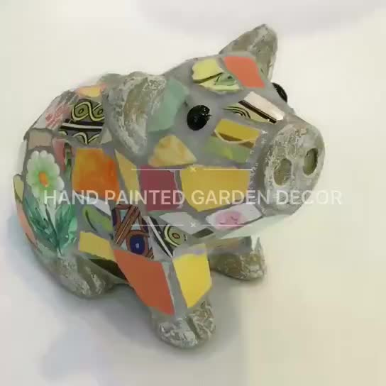 hand painted mosaic resin garden decor pig thumbnail image