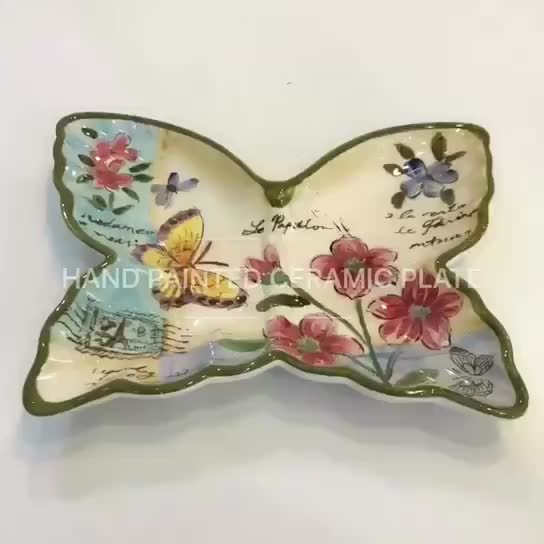 hand painted butterfly ceramic plate & home decor thumbnail image