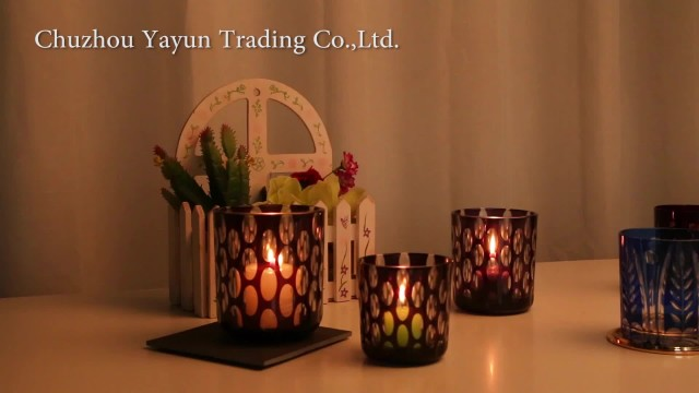 hand cut colored glass candle jar thumbnail image