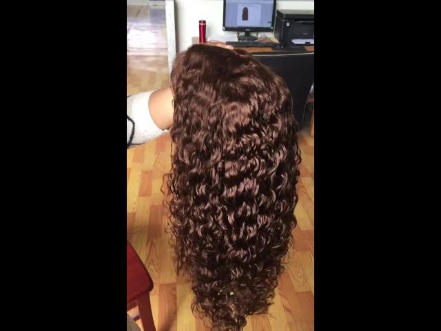 Brown Curly Virgin Brazilian Hair Perruque thumbnail image