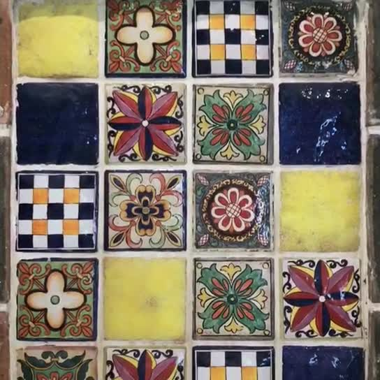 Hand made mexican colorful ceramic tile thumbnail image