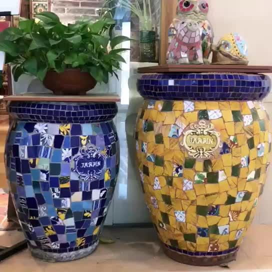 Hand Made Ceramic Colorful Mosaic Resin Flower Pot thumbnail image